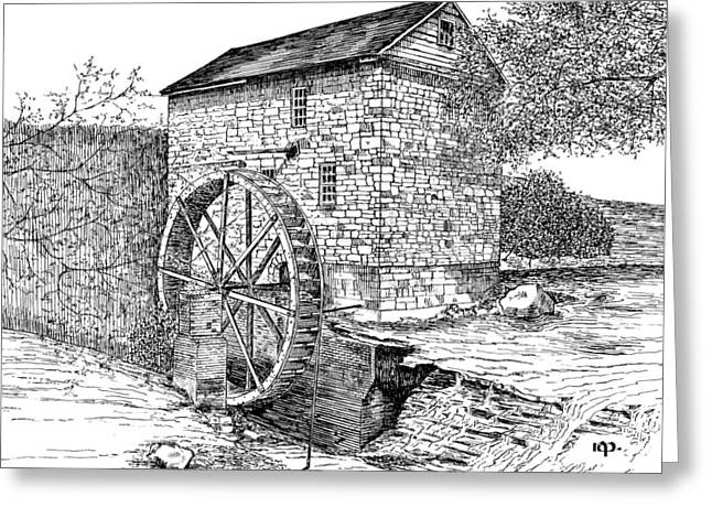Grist Mill Drawings Greeting Cards -  Wolf Pen Mill Greeting Card by Robert A Powell