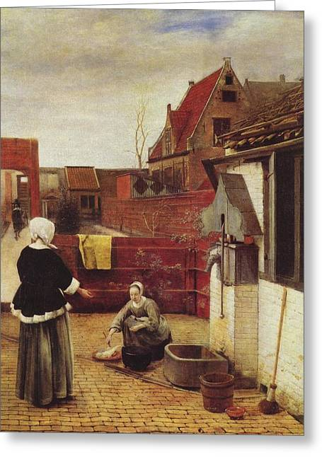 Hooch Greeting Cards -  Woman and Maid in a Courtyard Greeting Card by Pieter de Hooch