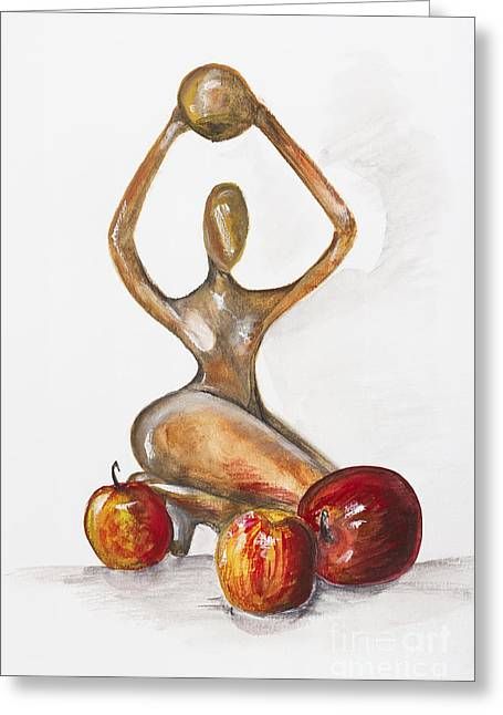 Best Sellers -  - Mahogany Red Greeting Cards -  woman in the African style  with red apples Greeting Card by Irina Gromovaja