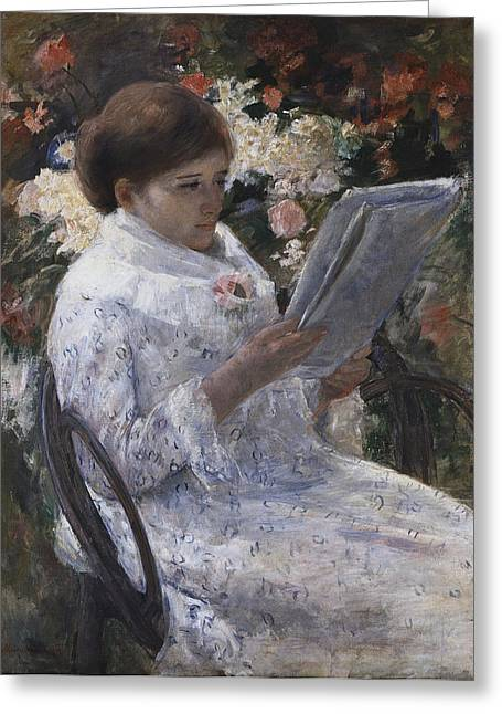 Self-portrait Greeting Cards -  Woman Reading In A Garden Greeting Card by Mary Cassatt