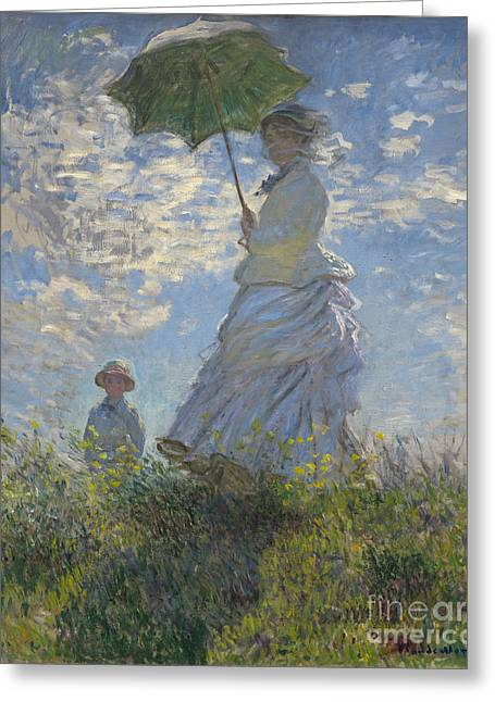Mom Paintings Greeting Cards -  Woman with a Parasol Madame Monet and Her Son Greeting Card by Claude Monet