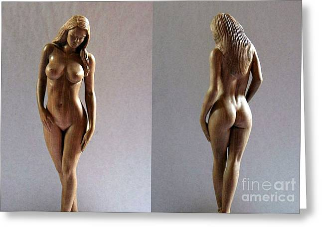 Body Sculptures Greeting Cards -  Wood Sculpture of Naked Woman Greeting Card by Carlos Baez Barrueto