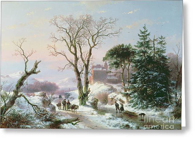 Winter Roads Greeting Cards -  Wooded winter river landscape Greeting Card by  Andreas Schelfhout
