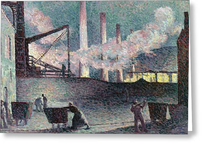 At Work Greeting Cards -  Works Furnaces at Couillet Greeting Card by Maximilien Luce