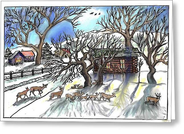 Snow Scene Landscape Greeting Cards -  Wyoming Winter Street Scene Greeting Card by Dawn Senior-Trask