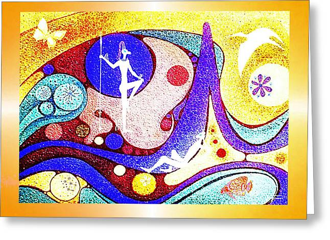 Yellow  Dreamworld Greeting Card by Hartmut Jager