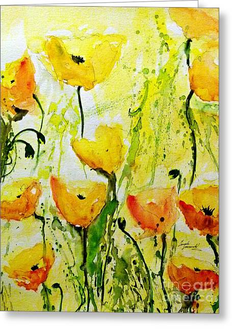 Gruenwald Greeting Cards -  Yellow Poppy 2 - Abstract Floral Painting Greeting Card by Ismeta Gruenwald