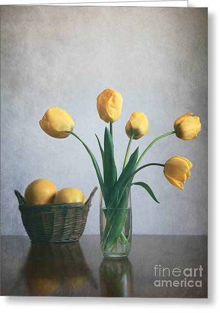 Living Life Photography Greeting Cards -  Yellow tulips Greeting Card by Diana Kraleva
