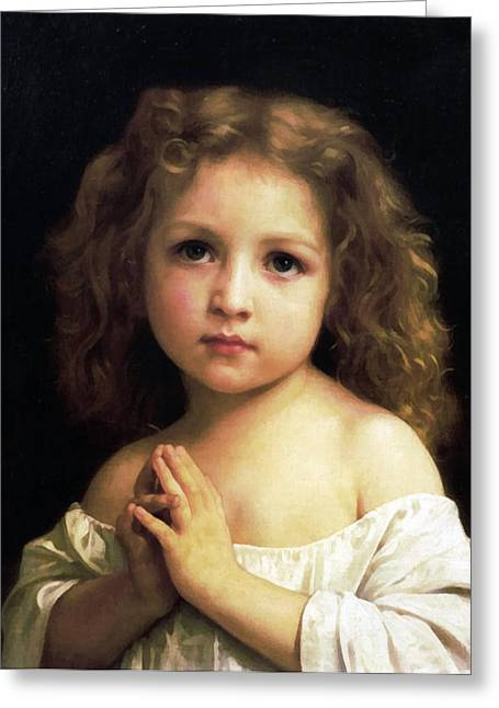 Off-the-shoulder Greeting Cards -  Young Girl Child Praying Greeting Card by William Bouguereau