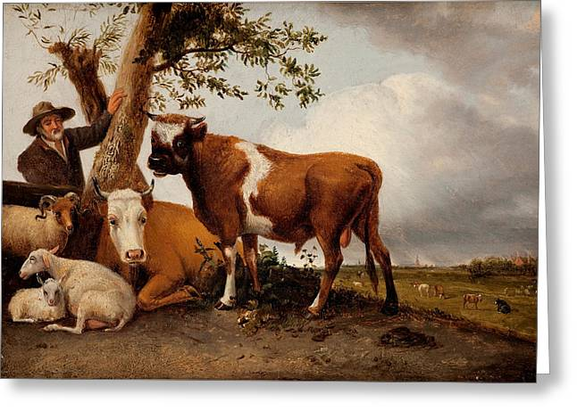 Ocean Photography Paintings Greeting Cards -  Young Bull Greeting Card by After Paulus Potter