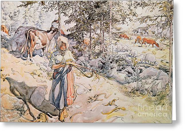 Herder Greeting Cards -  Young Girl Weaving Greeting Card by Carl Larsson