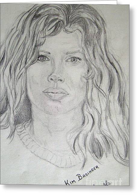 Famous Person Drawings Greeting Cards -  Young Kim Basinger Greeting Card by Nancy Rucker