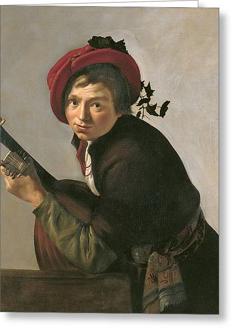 Young Man Playing A Theorbo Greeting Card by Jan Gerritsz van Bronckhorst