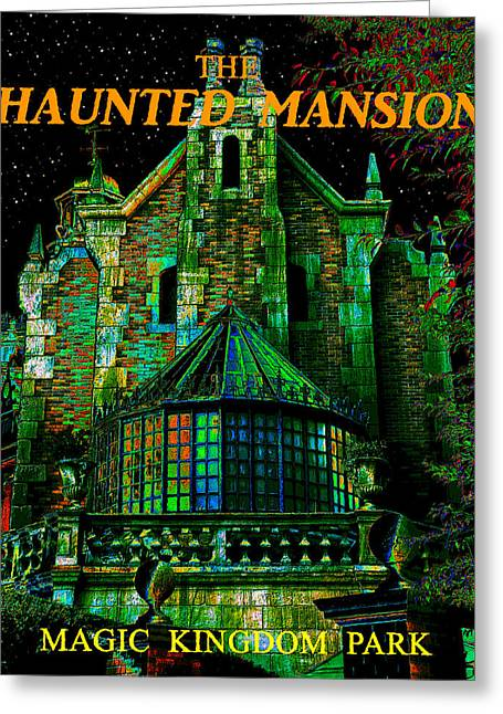 Haunted Digital Art Greeting Cards - Haunted Masion poster work A Greeting Card by David Lee Thompson