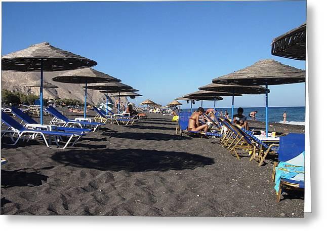 0008740 - Santorini - Perissa Greeting Card by Costas Aggelakis