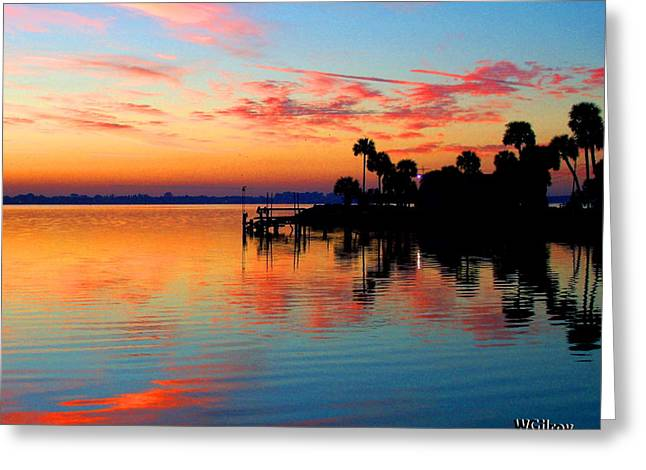 River View Mixed Media Greeting Cards - Sunrise sunset river photo Greeting Card by W Gilroy