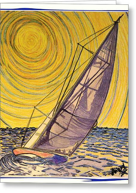 Yachting Mixed Media Greeting Cards - 0010 Greeting Card by W Gilroy
