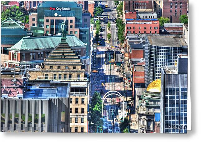 0024 Visual Highs Of The Queen City ...main St... Greeting Card by Michael Frank Jr