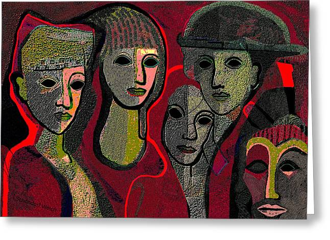 Blind Eyes Greeting Cards - 006 - Women and Masks ...  Greeting Card by Irmgard Schoendorf Welch