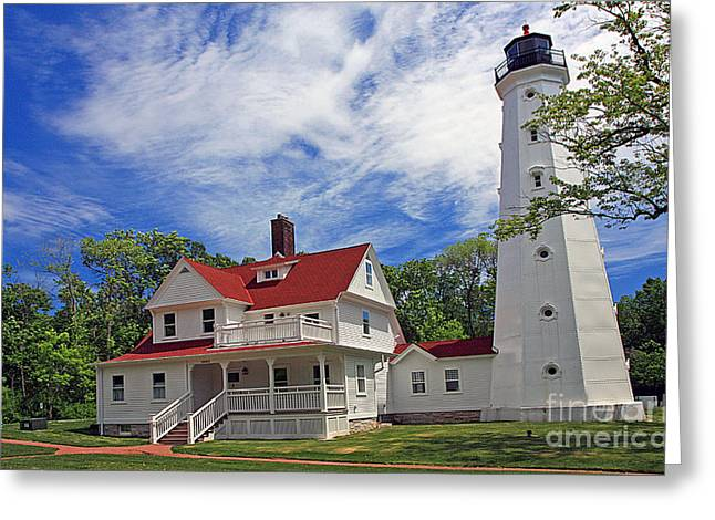 North Point Greeting Cards - 0082 North Point Lighhouse Milwaukee Greeting Card by Steve Sturgill