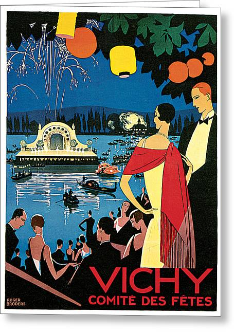 Woman In A Dress Greeting Cards - Vichy Festival Committee  Greeting Card by Roger Broders