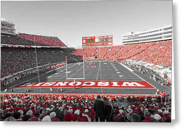 Camps Greeting Cards - 0095 Badger Football  Greeting Card by Steve Sturgill
