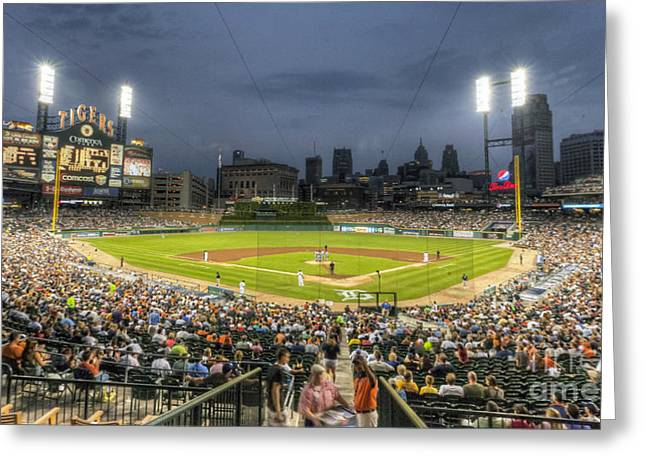 Baseball Stadiums Greeting Cards - 0101 Comerica Park - Detroit Michigan Greeting Card by Steve Sturgill