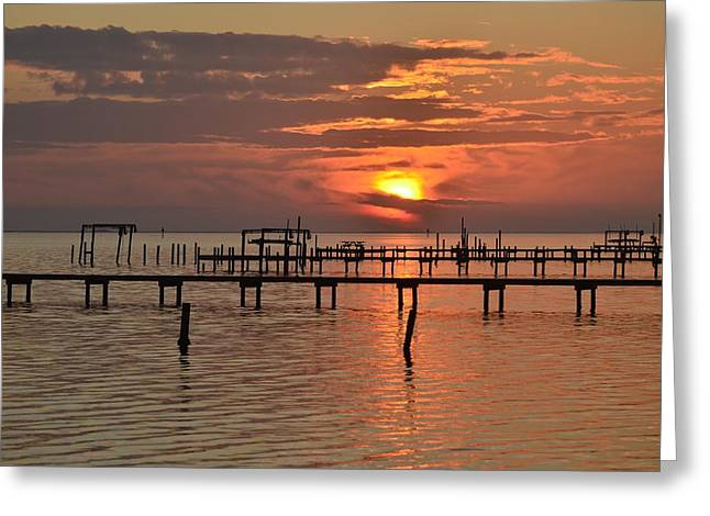 Navarre Beach Photographs Greeting Cards - 0106 Cloudy Sunset Colors on Sound Greeting Card by Jeff at JSJ Photography