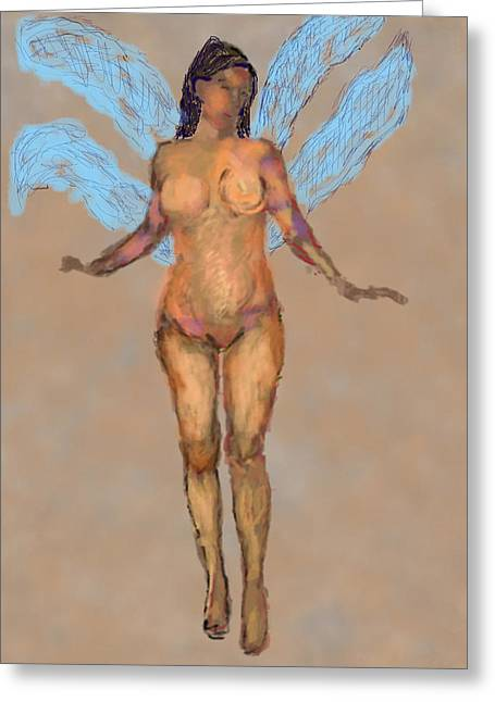 Fairies Pastels Greeting Cards - 010715 Pastel Digital Fairy Greeting Card by Garland Oldham