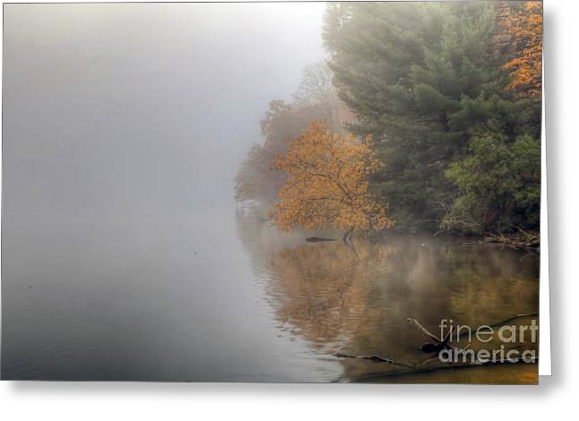 Starved Rock Park Greeting Cards - 0136 Autumn on the Illinois River at Starved Rock Greeting Card by Steve Sturgill