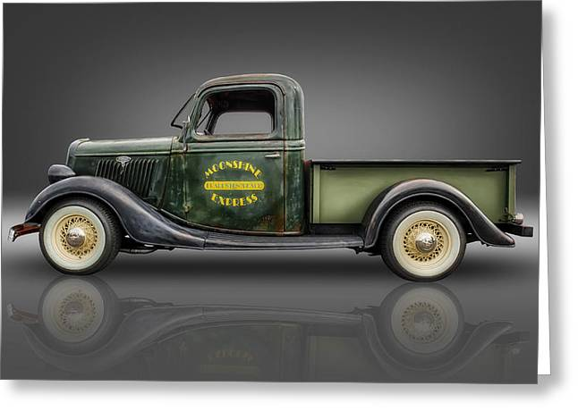 Wire Wheels Greeting Cards - 1935 Ford Pickup - Moonshine Express Greeting Card by Frank J Benz