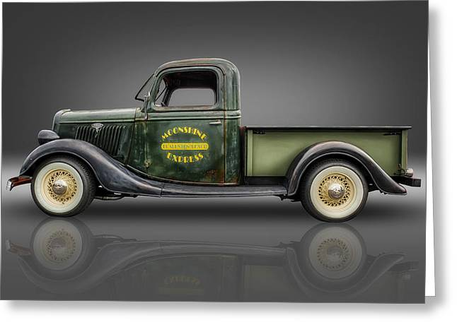 Hot Ford Greeting Cards - 1935 Ford Pickup - Moonshine Express Greeting Card by Frank J Benz