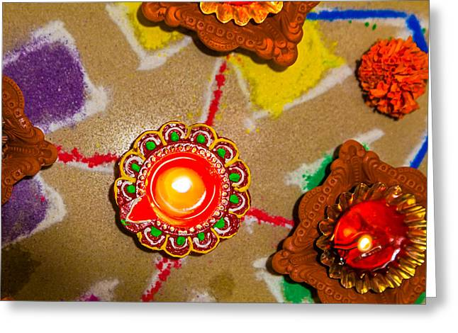 Marigold Festival Greeting Cards - 0159 280713 6300 Hindu Rangoli candle diva divali new year holi. Greeting Card by Kantilal Patel
