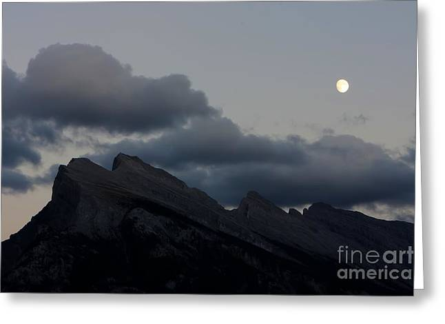 Rundle Greeting Cards - 0175 Moon over Rundle Mountain Greeting Card by Steve Sturgill