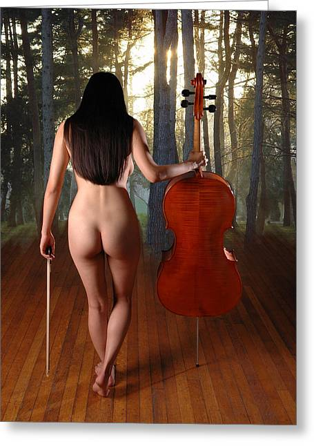 Best Sellers -  - Subtle Colors Greeting Cards - 0182 Beautiful Nude Cellist with Cello and Bow on Surreal Stage Greeting Card by Chris Maher
