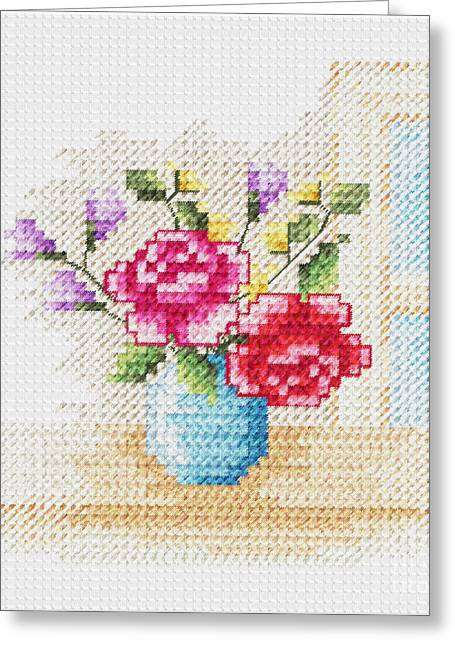 Vase Of Flowers Drawings Greeting Cards - #01AFLF Garden Beauty Greeting Card by Angie Forshier