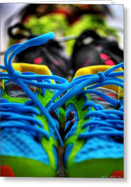 Sneaker Lace Greeting Cards - 01b For the Love of Running Greeting Card by Michael Frank Jr