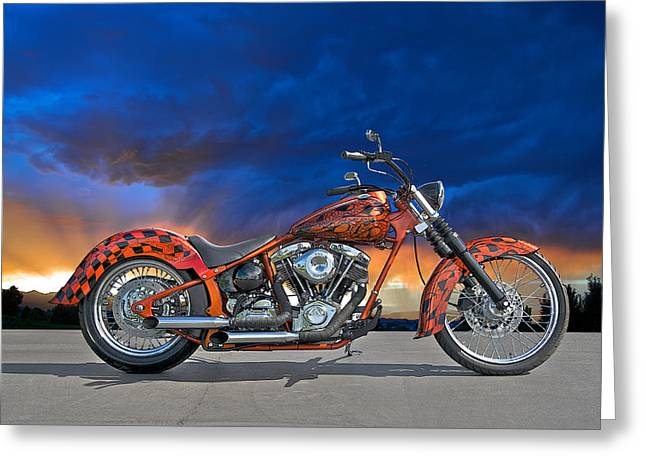 Classic Saddle Greeting Cards - 02 HD Custom Bike Greeting Card by Dave Koontz