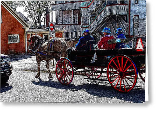 Wagon Pastels Greeting Cards - 02162015 Buggy Ride Eastern Canada Greeting Card by Garland Oldham
