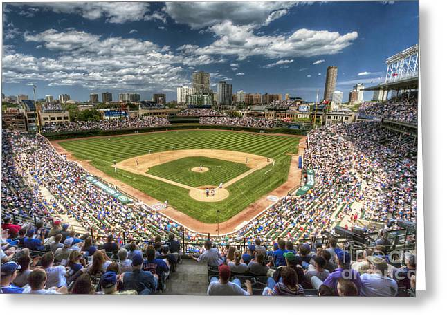 Chicago Cubs Stadium Greeting Cards - 0234 Wrigley Field Greeting Card by Steve Sturgill