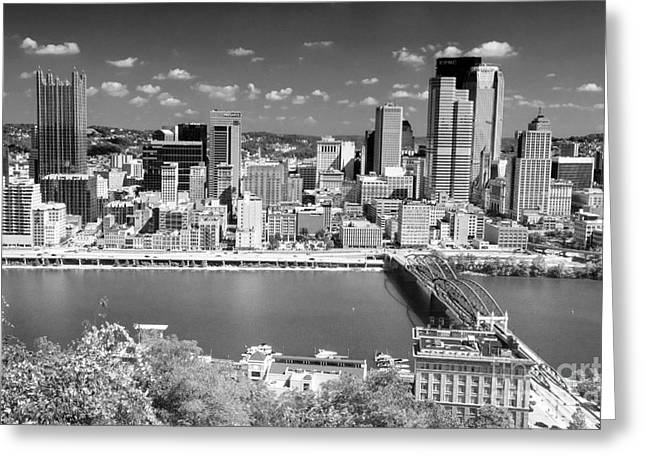 Pittsburgh Greeting Cards - 0239 Pittsburgh Pennsylvania Black and White Greeting Card by Steve Sturgill