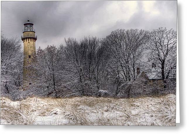 Evanston Greeting Cards - 0243 Grosse Point Lighthouse Evanston Illinois Greeting Card by Steve Sturgill