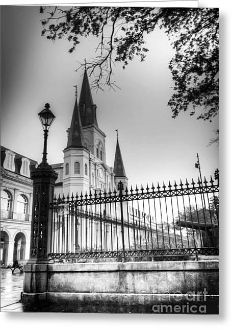 St. Louis Cathedral Greeting Cards - 0261 St. Louis Cathedral - New Orleans Greeting Card by Steve Sturgill