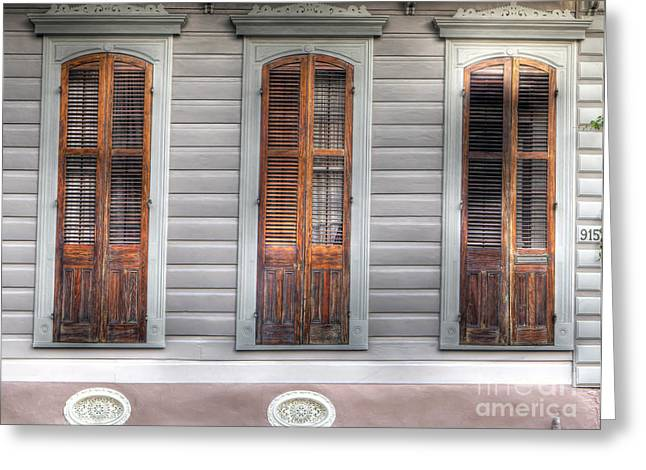 French Doors Greeting Cards - 0265 French Quarter 7 - New Orleans Greeting Card by Steve Sturgill
