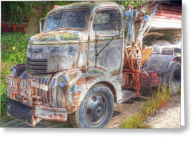 Tow Greeting Cards - 0281 Old Tow Truck Greeting Card by Steve Sturgill