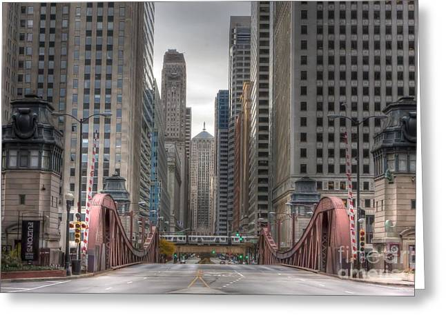 Lasalle Street Greeting Cards - 0295 LaSalle Street Chicago Greeting Card by Steve Sturgill
