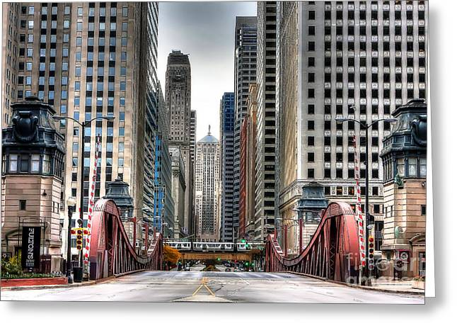 Chicago Board Of Trade Greeting Cards - 0295b LaSalle Street Bridge Greeting Card by Steve Sturgill
