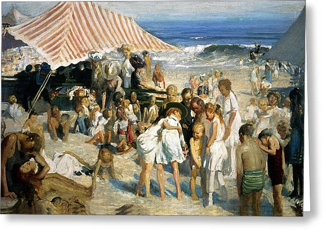 Swimmers Greeting Cards - Beach at Coney Island Greeting Card by George Wesley Bellows