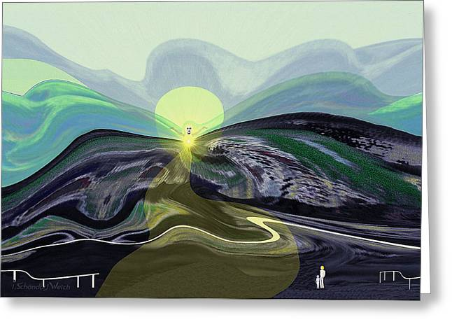 Surreal Landscape Greeting Cards - 033 -  Mountain morning with Angel   Greeting Card by Irmgard Schoendorf Welch