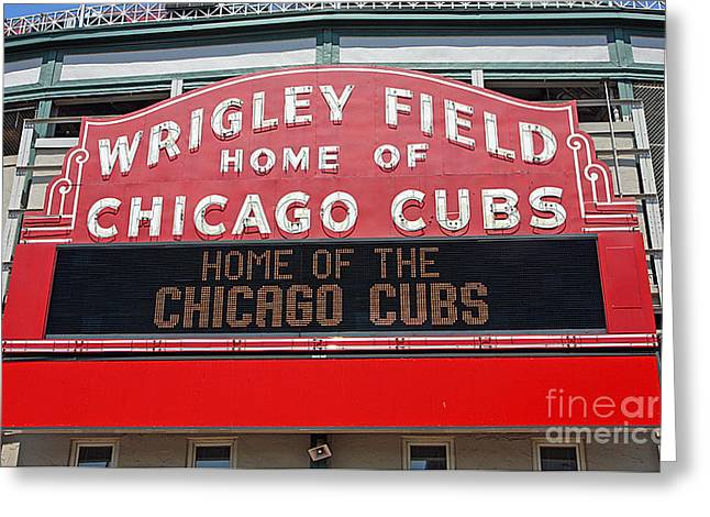 Sports Fields Greeting Cards - 0334 Wrigley Field Greeting Card by Steve Sturgill